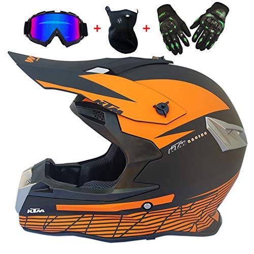 Naranja Negro Casco de Motocross Hombre Casco de Cross Enduro ATV MTB...