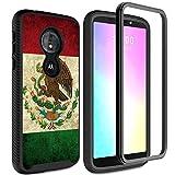 Funda para Moto E5 Plus, funda para Moto E5 Supra, protección de cuerpo completo Rossy con protector de pantalla HD que absorbe los golpes, funda para Motorola Moto E5 Plus, banderas mexicanas vintage