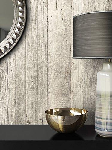 Tapete Vlies Antik Holz Muster in Weiß Grau | schöne edle Tapete im Antikholz Design | moderne 3D Optik für Wohnzimmer, Schlafzimmer oder Küche inkl. Newroom-Tapezier-Profibroschüre mit super Tipps!