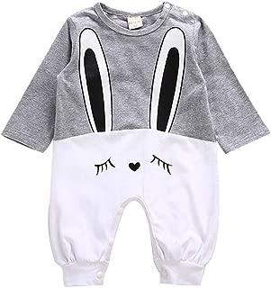 ALLAIBB Newborn Baby Autumn Long Sleeve Romper Cotton Cartoon Rabbit Pattern Jumpsuit