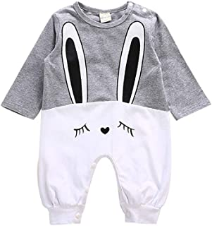 ALLAIBB Newborn Baby Autumn Long Sleeve Romper Cotton Cartoon Rabbit Pattern Jumpsuit