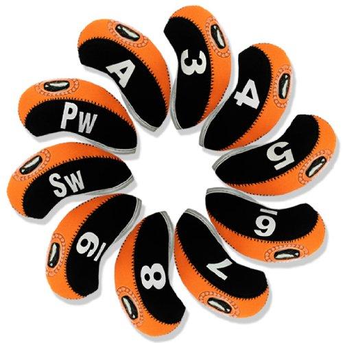Andux Golf Schlägerkopfhüllen Eisenhauben mit digitalem Etikett 10 Stück (schwarz/orange)