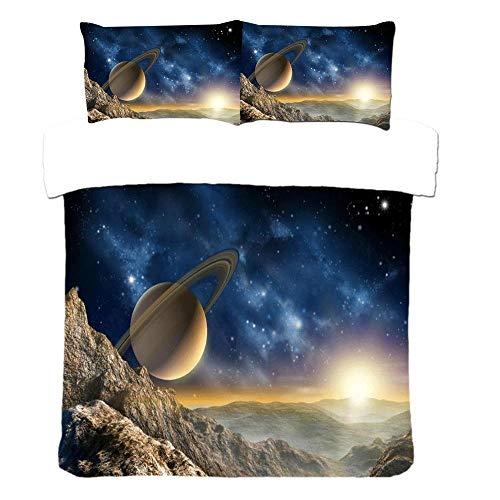 YCMFVG 3Pcs Bettwäsche Set 3D Druck Polyester Stern Raum Raum Saturn Bettbezuge Und Kissenbezüge Zuhause Dekoration 220X240Cm