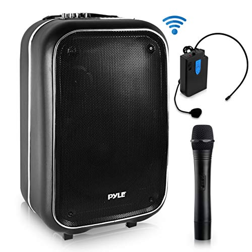 Wireless Portable PA Speaker System - 400 W Battery Powered Rechargeable Sound Stereo Speaker and Microphone Set with Bluetooth MP3 USB Micro SD FM Radio AUX - For Outdoor DJ Party - Pyle PWMA825BT