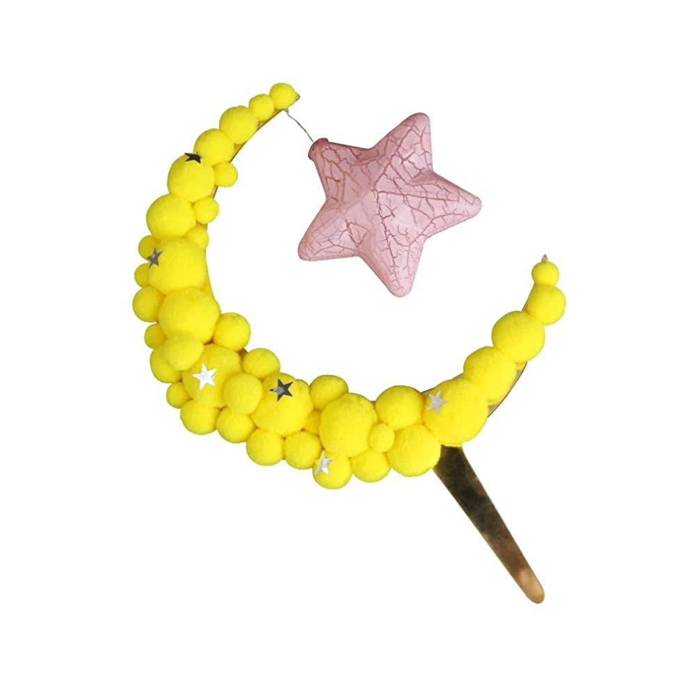 Asien Moon Hair Ball Cake Decor Birthday Party Favor DIY Craft Table Ornament Kids Toy Fluffy Moon with Star Light