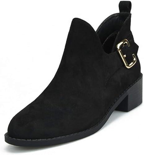 Fenghz-chaussures Chaussures Mode Bottes Chelsea pour Femmes à Boucle réglable et Talon Bas