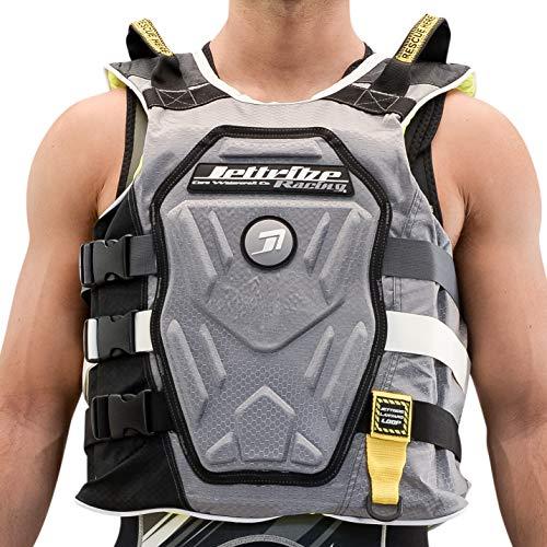 Jettribe Chest Impact Life Vest RS-18 Series | Comp Jacket | Customizable Back Plate | Side-Entry Jet Ski Vest (Grey, S/M)