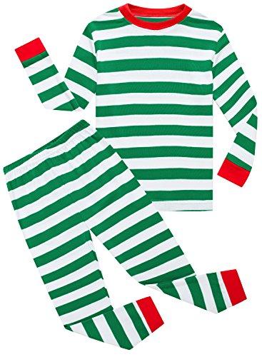 Family Feeling Striped Baby Boys Girls Christmas 2 Piece Pajamas Set 100% Cotton Pjs Green Size 18-24Months
