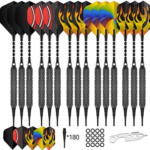CyeeLife 15 Packs Soft tip Darts Set 18g,180 Extra Tips+Dart Tool+15 Aluminum shafts+30 Flights(5 Designs,Standard&Slim),Professional Plastic tip Darts for Electronic Dart Board-Gold