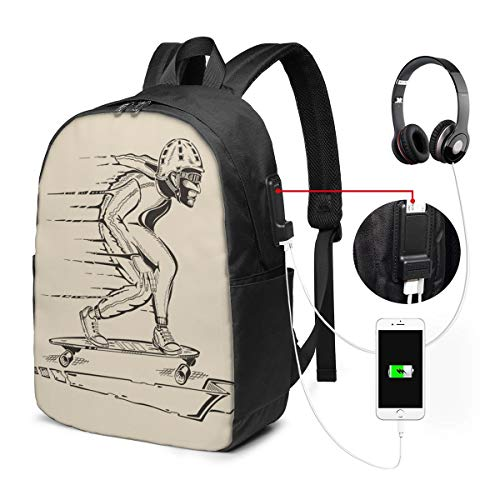 Travel Laptop Backpack A Guy Who Races On A Skateboard In For Business School W/Usb 17In
