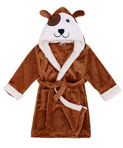 Verabella Kids Boys Girls Hooded Bathrobe Animal Theme Costume Robe, Dog Brow, S