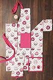 AMOUR INFINI Damen Küchenschürze Cupcake | 70 x 85 cm | 100% natürliche Baumwolle | Damenschürze zum Kochen, Backen, Gärtnern | Praktische Taschen, verstellbare Halsbänder und Taillenbänder - 4