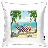 Fundas de almohada, hamaca entre palmeras en la playa, diseño de dibujos animados, composición digital, funda de cojín cuadrada decorativa, 45,7 x 45,7 cm