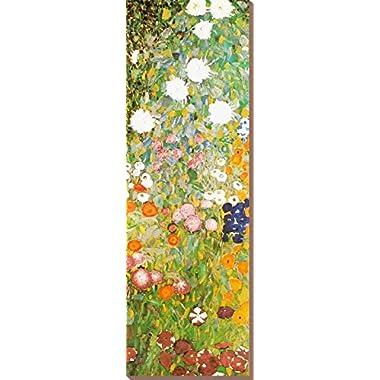 Canvas Print Wall Art 'Flower Garden (detail)' by Gustav Klimt, 38x12 in