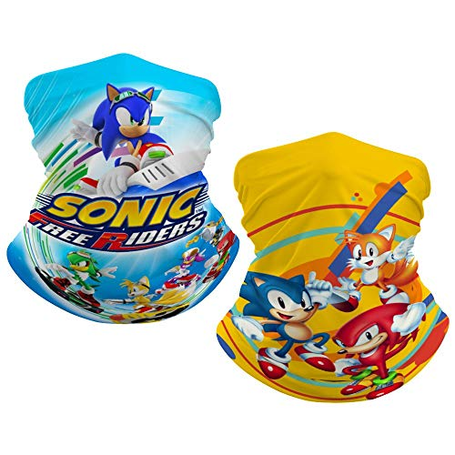 2 PCS Sonic The Hedgehog Blue and Yellow Color for Kids Neck Gaiter Summer face Cover for Sun uv Protection for Boys Girls Bandana Face Scarf Headband