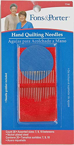 Fons & Porter 7746 Hand Quilting Needles, Size 7, 9, 10 with Needle Grabber, 20-Count