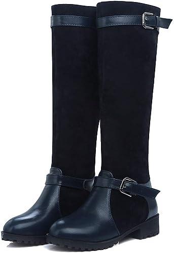 DANDANJIE Chaussures pour Femmes Boucle Bottes d'équitation d'hiver Bottes Hautes Hautes à la Mode à Bout Rond et Genou  économiser 60% de réduction