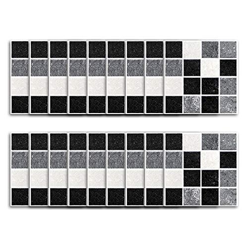 Z IMEI 90 Stück Wasserdicht Küche Fliesenaufkleber selbstklebend Mosaik Fliesenfolie Dekorative Fliesensticker Badezimmer Fliesen-a 10x10cm(3.9x3.9in)