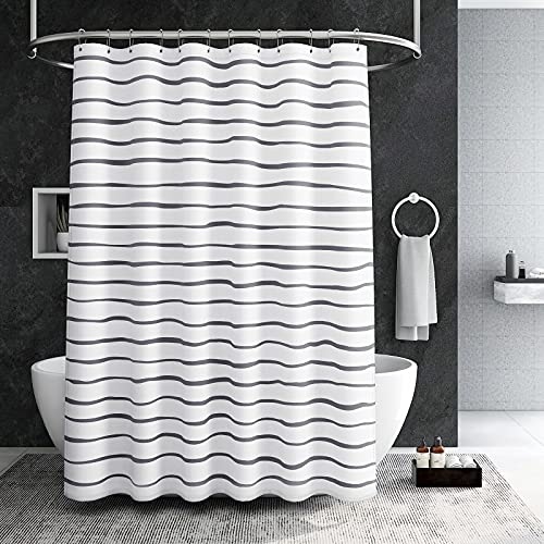 YellyHommy White and Black Boho Shower Curtain for Bathroom Dark Gray Minimalist Neutral Color Striped Modern Shower Curtain Set with 12 Hooks Tall