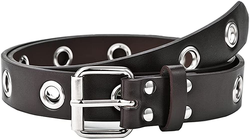 Punk Pu Max 53% OFF Leather Belt Women Eyelet Jeans Studded Grommet Popularity for