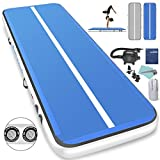 1INCH Airtrack Tumbling Mat 13ft Blue Air Track Mat 6 inches Inflatable Gymnastics Mat with Electric Air Pump for Training Gymnastics,Cheerleading,Parkour,Martial Arts,Taekwondo