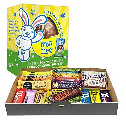 Vegane Ostern Geschenkpaket 24 Fitnessriegel und Milchfreies Schokoladen-Ei