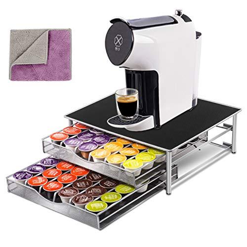 MASTERTOP Kaffee Kapselhalter für 72 Kapseln mit 2 Reinigungstücher, rutschfeste Oberfläche, Kapsel Aufbewahrung für Tassimo & Cafissimo Kapseln