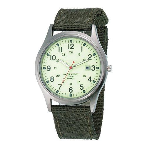 Dxlta Herren-Armbanduhr, sportlich, wasserdicht, analog, Armband aus Segeltuch grün leuchtend