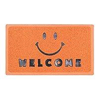 ラバーコイルマット 玄関マット (ウェルカム スマイル 1 /オレンジ) ゴムマット 屋外 屋内 かわいい ポップ ニコニコマーク ニコちゃん カフェ 店舗 マット アメリカン雑貨