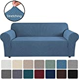 H.VERSAILTEX Stretch Sofa Covers Couch Cover Furniture Protector Sofa Slipcover 1-Piece Feature High Spandex Textured Small Checks Jacquard Fabric with Elastic Bottom(Sofa 72'-96' Wide: Dusty Blue)