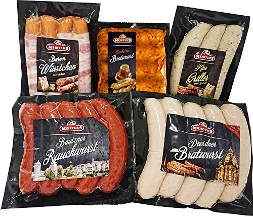 Sonderangebot Grillpaket Dresdner Bratwurst, Käsegriller, Rauchwurst Debrecziner Art, Berner Würstchen mit Käse & Bacon
