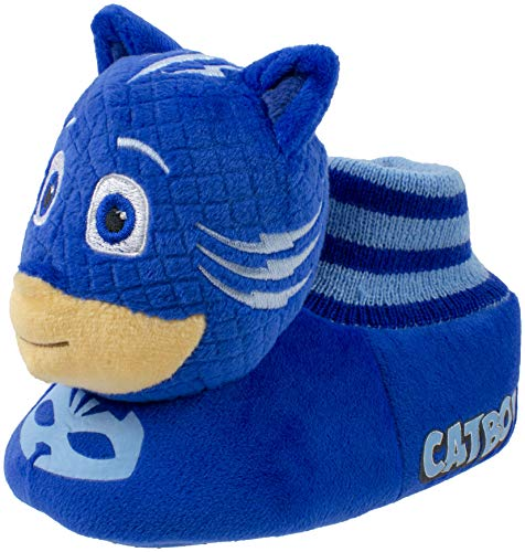 PJ Masks Toddler Boy's Catboy Head-on-Top Socktop Slipper, Blue, L (9-10)
