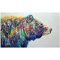 キャンバスに印刷クマ抽象的な水彩壁アートポスターとプリント動物のキャンバスの絵画現代の写真リビングルームの家の装飾60x120cmフレームなし