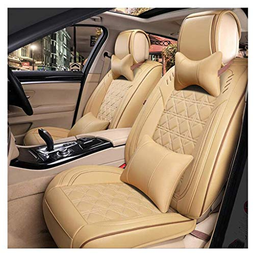 Wmxcz Car Seat Cover Set,Universal Artificial Leather and Ice Silk Breathable Comfortable Cushion Protector Set 5 Seaters 9 Piece Set (Color, RED),Beige