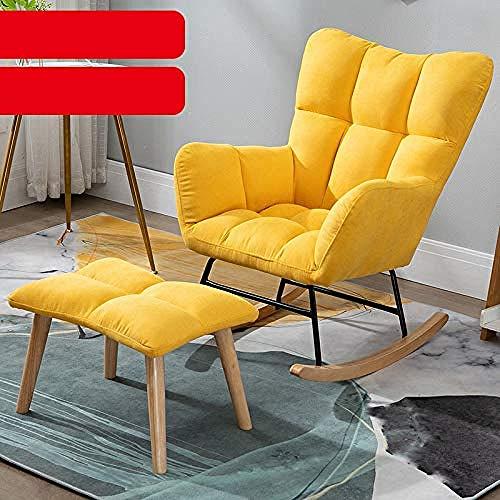 Mecedora Moderna con Taburete Mecedora reclinable tapizada con Patas de Madera Maciza Dormitorio...