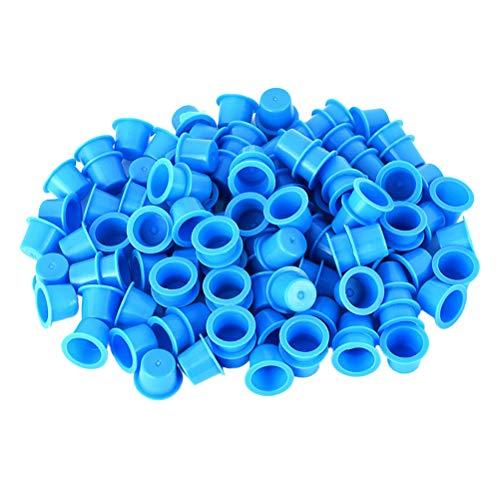 Healifty 100PCS Encre de Tatouage gobelets d'encre jetables Maquillage Permanent réservoir de Pigment Tatouage - Taille m (Bleu)