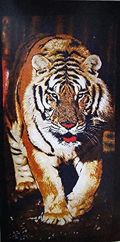 CONFORT HOME M.T. (90 X 170 CM) Toalla Playa -Grand Zoo*- ALGODÓN 100% Estampada Tacto Suave + Pack Tobilleros RegalitosTV (255 Tiger)