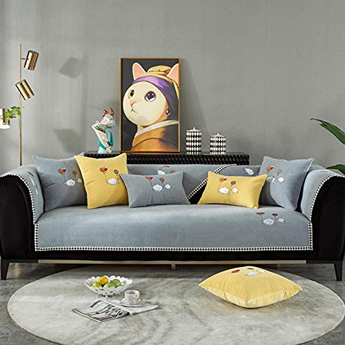 Fundas Sofa Chaise Longue Cubre Sofa Acolchado Fundas para Sofa sin Antideslizante Bordado Simple Moderno, -Funda de Almohada de 45x45cm_Gris-Vendido en Pedazos