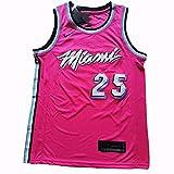 xiaotianshi Jersey de Baloncesto Deportivo de la NBA de los Hombres, Miami Heat # 25 Kendrick Nunn, Transpirable Resistente al Desgaste Vintage Baloncesto All-Star Unisex Fan Uniform Jersey,Rojo,XXL