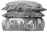 Catherine Lansfield Cityscape, Gris, 260 x 240 cm + 50 x 110 x 2 cm