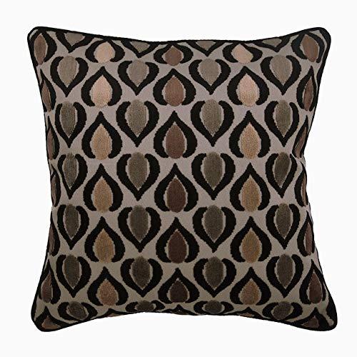 The HomeCentric Taie d'oreiller Decorative Marron Abstarct 3D Carre 65 x 65 cm Velours Marron, Housse de Coussin à la Main Velours - Abstract Deco