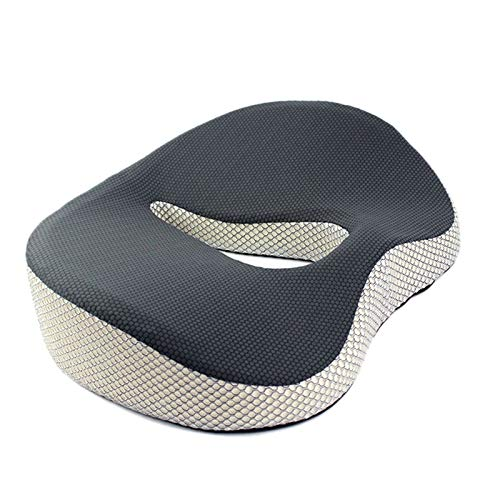 Domilay Memory Cushion Foam U Coccyx Travel Seat Car Office Chair Protect Healthy Sitting Breathable Pillows Black-Gray