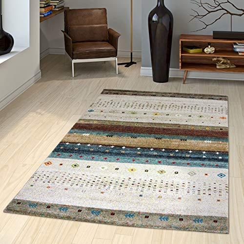 T&T Design Teppich Gabbeh Loribaft Nomaden Motive Klassisch Beige Creme Bunt Meliert, Größe:120x170 cm