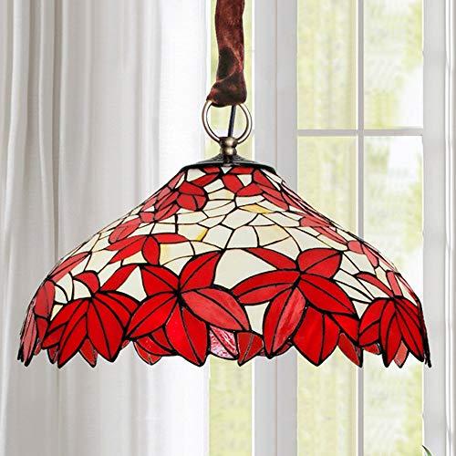 U/D Araña Techo LED Hoja de Arce roja de la lámpara del Estilo de mediterránea Manchado lámpara de Cristal luz Caliente de la Sala de Estar Dormitorio MJZHJD (Size : D40CM)