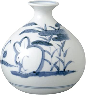 山下工芸 花器 染付うさぎ φ12.5×H13cm 有田焼 平 花瓶 木箱入 45027540
