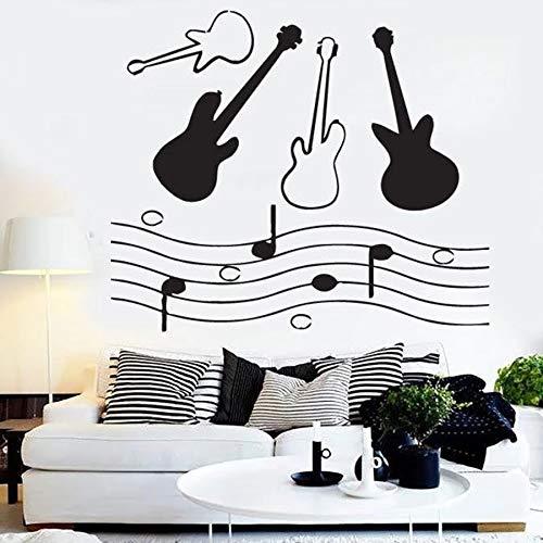 SUPWALS Pegatinas de pared Notas De Guitarra Calcomanía De Vinilo Partituras Vinilo Vinilos Para Ventanas Sala Musical Guitarra Estudio Decoración Interior Dormitorio Arte Mural 42X36Cm
