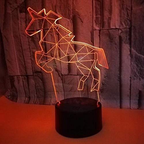 HHR 3D nachtlampje, paard, kleurrijke touch-afstandsbediening acryl led zichtbaar licht 3D illusie nachtlampje atmosfeer, 3D kleine tafellamp voor baby en slaapkamer, decoratief cadeau Touch.