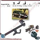 Attelage remorque avec Faisceau 7 broches | Peugeot 307 SW de 2001- Break | col de cygne démontable avec outil