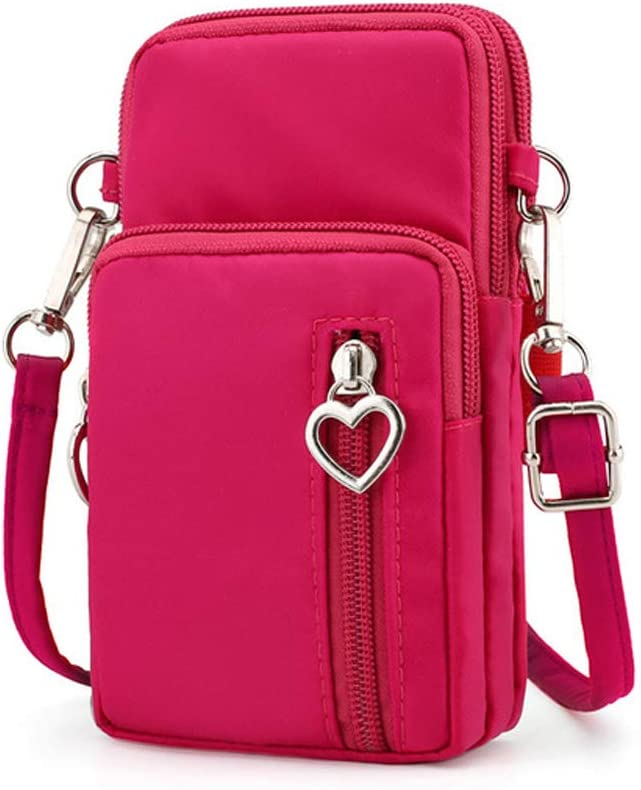 Women Nylon Cell Phone Purse Small Crossbody Bag Sport Armband Wristband Wallet for iPhone 11 Pro Max, Galaxy Note 10+/9 S20+ S10 Plus S20 Ultra A50 A70, Moto G8+ G7 Power G6 Plus,LG Stylo 5/6 (Pink)