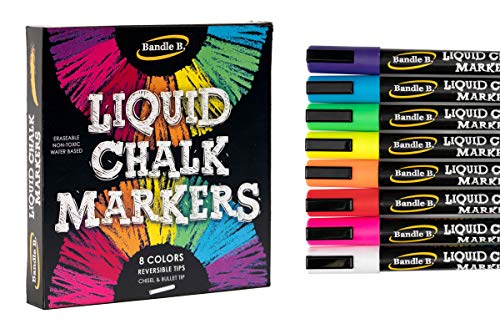 Liquid Chalk Markers - 8 Vibrant colors, erasable, non-toxic, water-based, reversible tips, bright colors for kids & adults for glass or chalkboards for businesses, restaurants, or any occasion